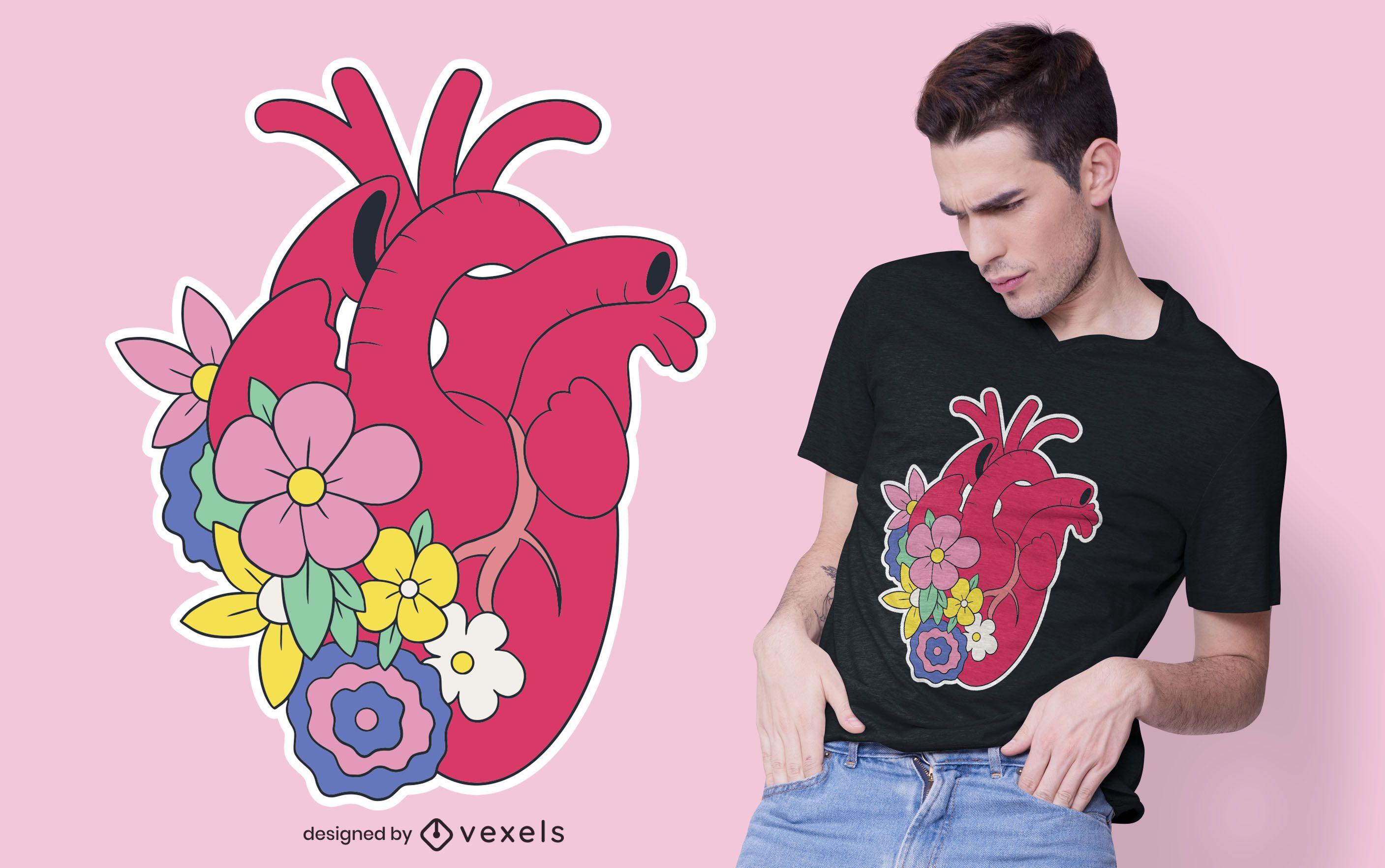 Diseño de camiseta de corazón floral realista