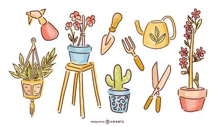 Balcony Garden Elements Design Pack