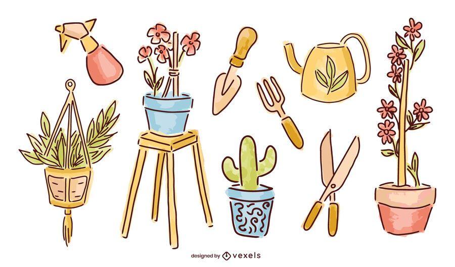 Paquete de diseño de elementos de jardín con balcón