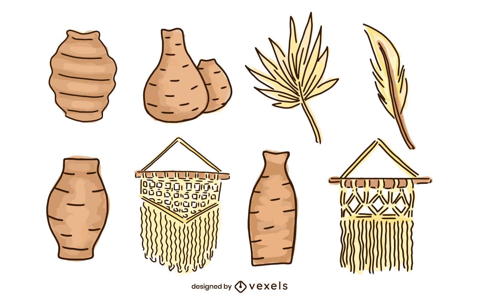 Paquete de elementos ilustrados de Boho