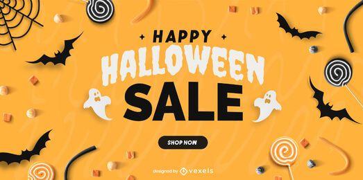 Feliz dia das bruxas venda slider design