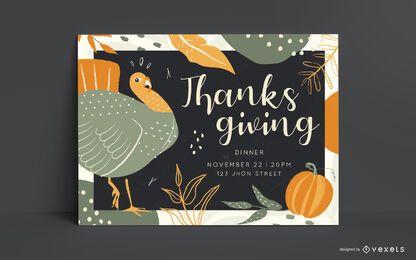 Plantilla de invitación de cena de acción de gracias