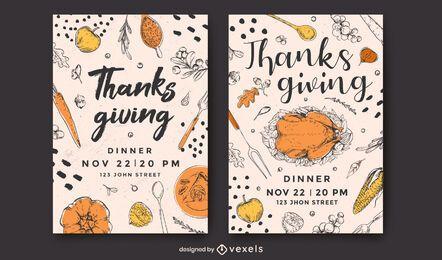 Conjunto de diseño de carteles de acción de gracias