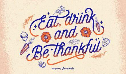 Comer y beber letras de acción de gracias