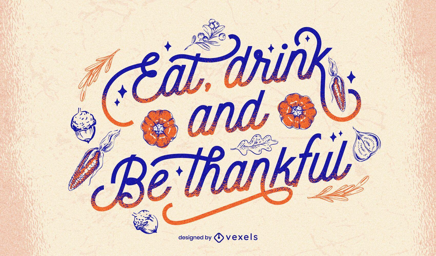 Essen & Trinken Thanksgiving-Schriftzug