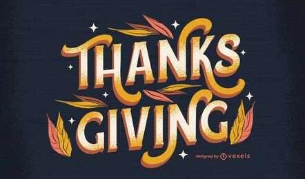 Desenho de letras brilhantes de ação de graças