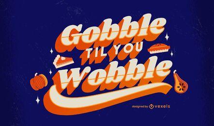 Diseño de letras de acción de gracias de engullido