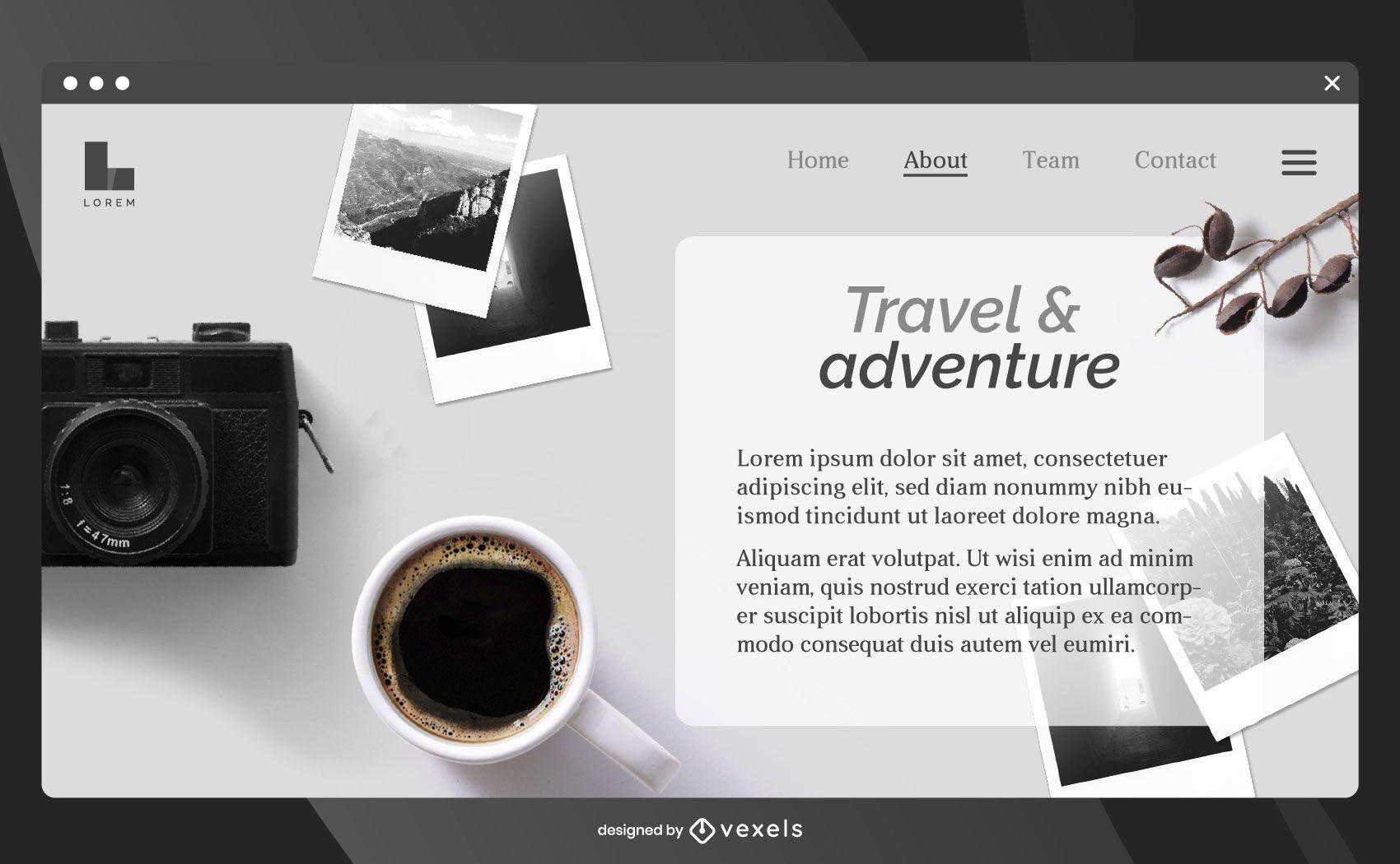 Plantilla de página de destino de viajes y aventuras