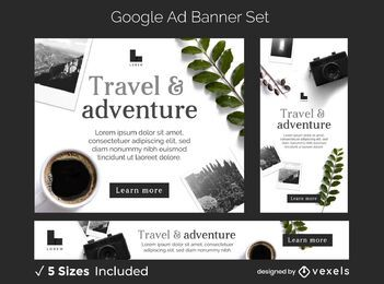 Travel adventure ads banner set
