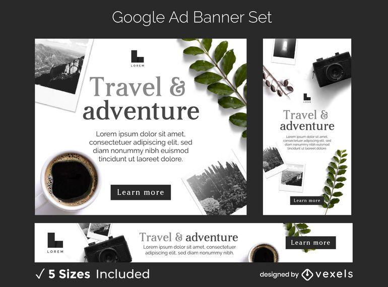 Conjunto de banners de anuncios de aventura de viaje