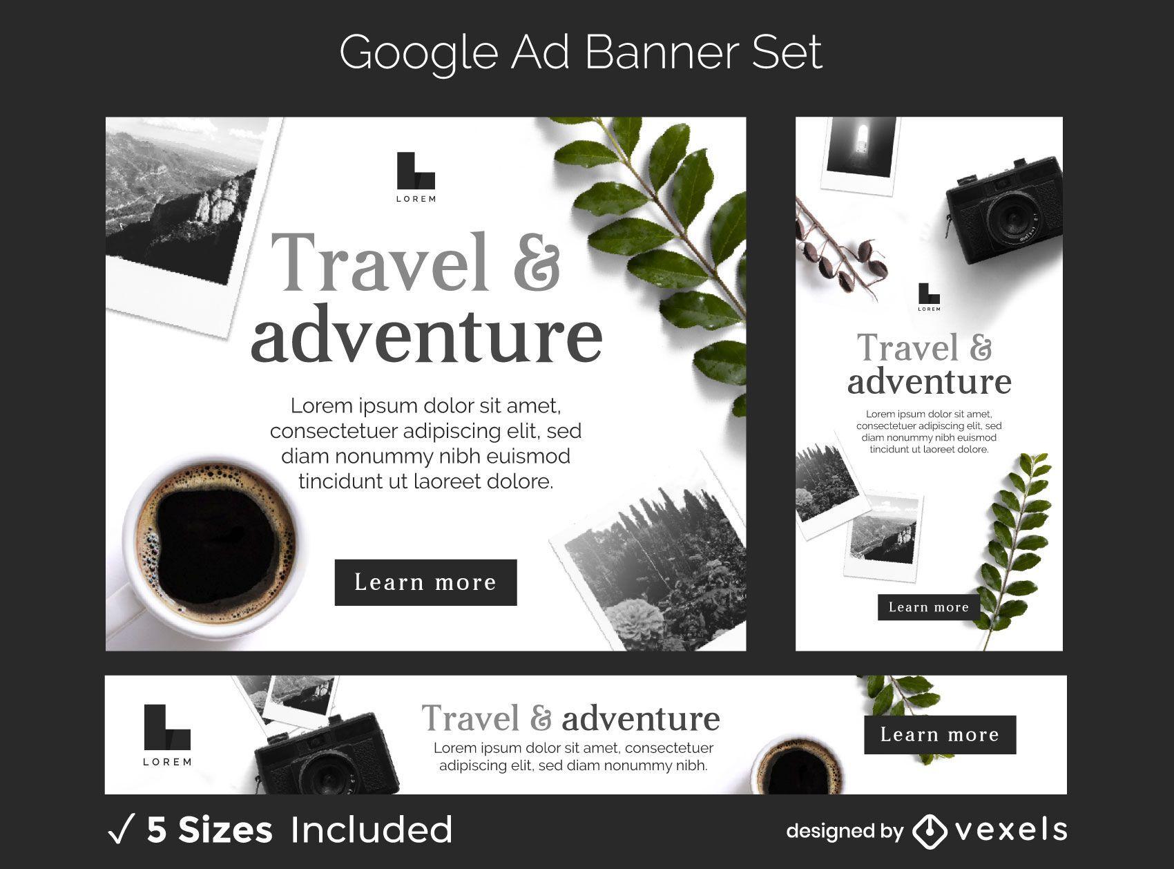 Conjunto de banners de anuncios de aventuras de viajes.