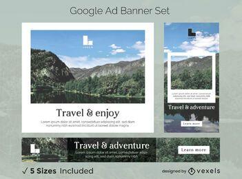 Paquete de pancartas de anuncios de Google Photos de viaje