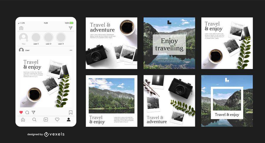 Paquete de banner cuadrado de Instagram para viajes