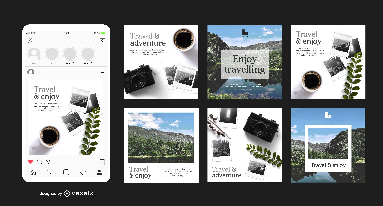 Travelling Social Media Post Set
