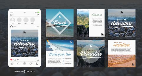 Pacote de postagem personalizada no Instagram para viagens