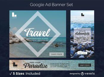 Conjunto de banner de anúncios de viagens