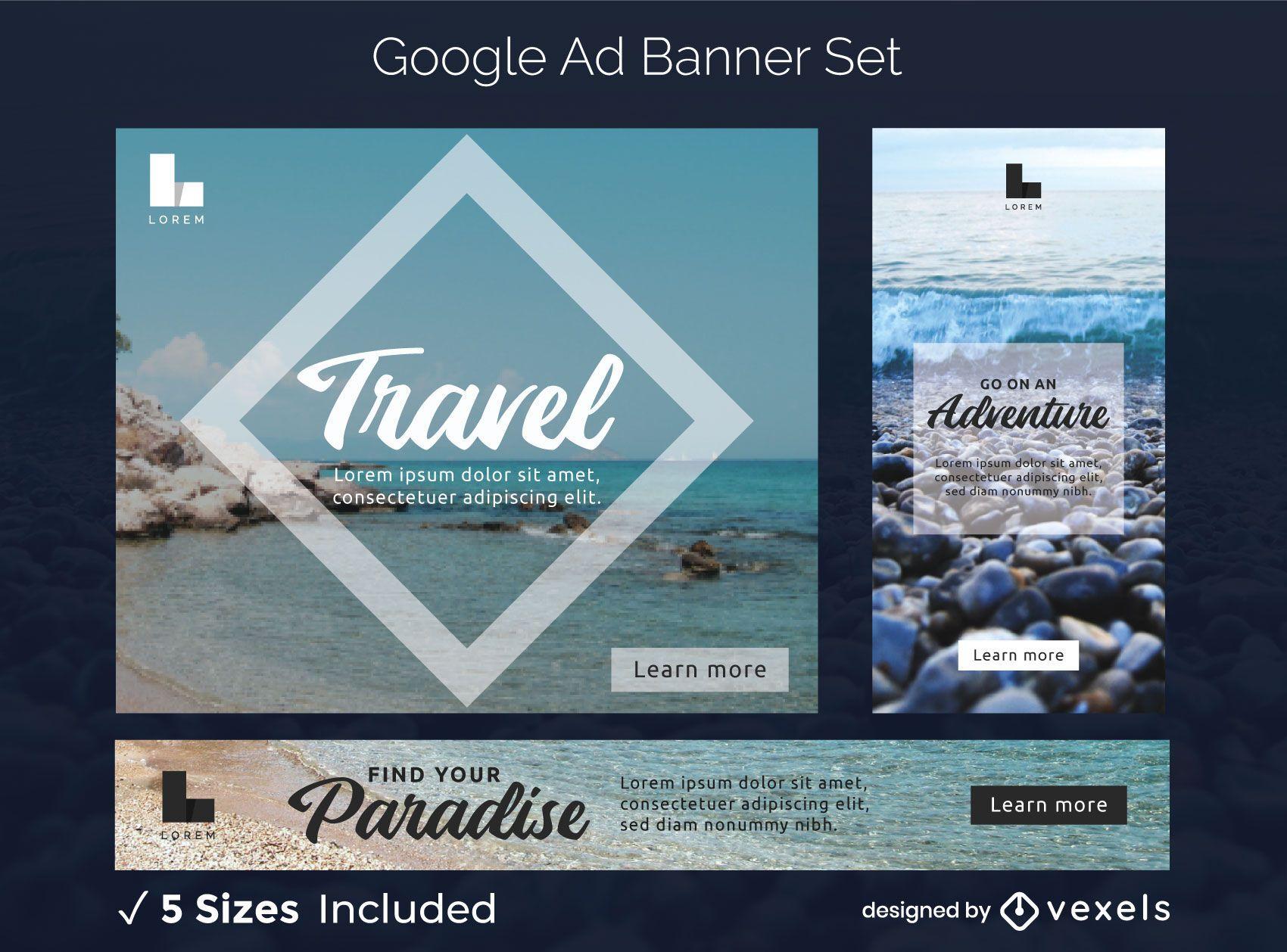 Travel ads banner set