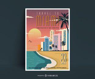Cartel de viaje de Miami de estilo vintage
