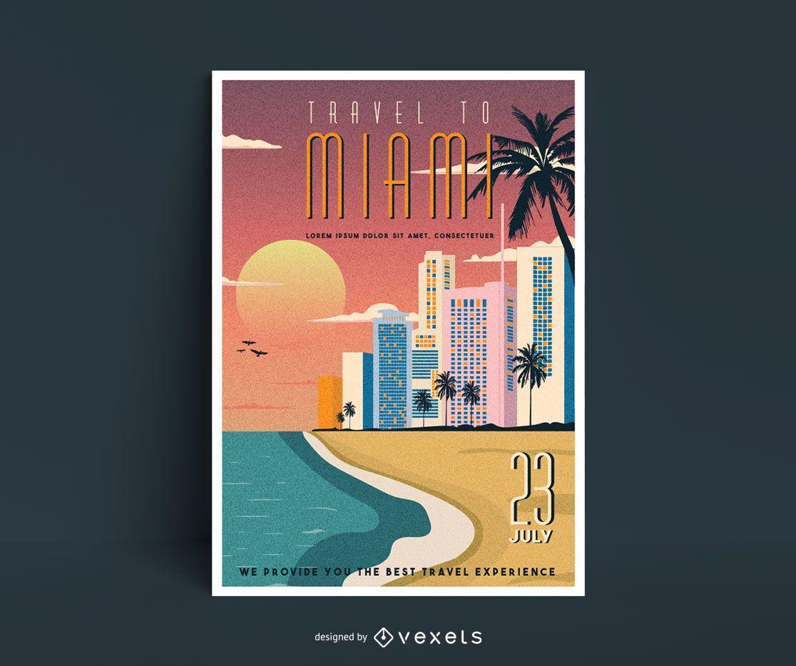 Cartaz de viagens em estilo vintage para Miami