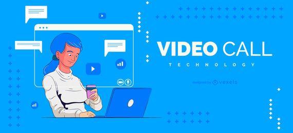 Diseño de ilustración de video llamada