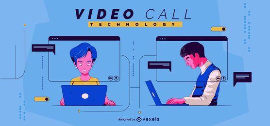 Ilustração de tecnologia de videochamada