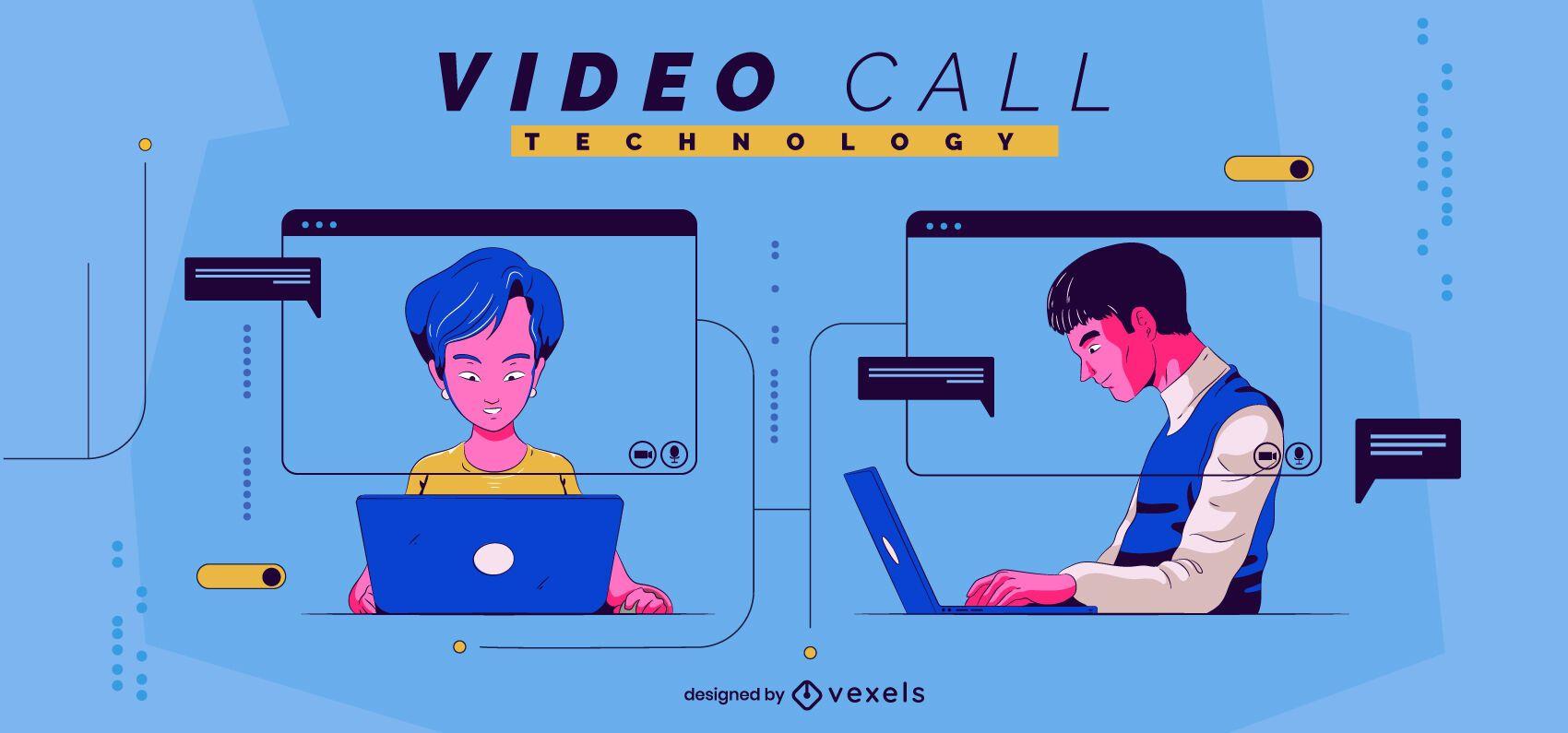 Ilustración de tecnología de videollamada