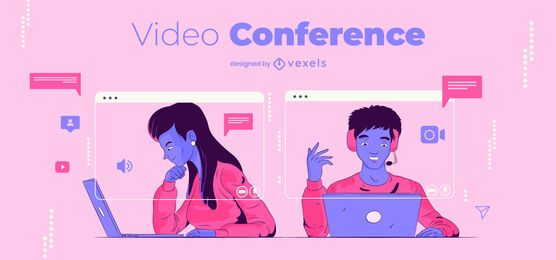 Video conference characters illustration