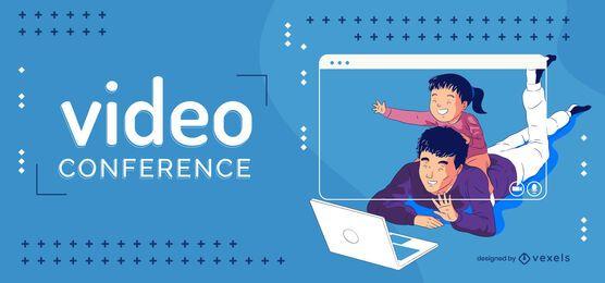 Ilustração familiar de videoconferência