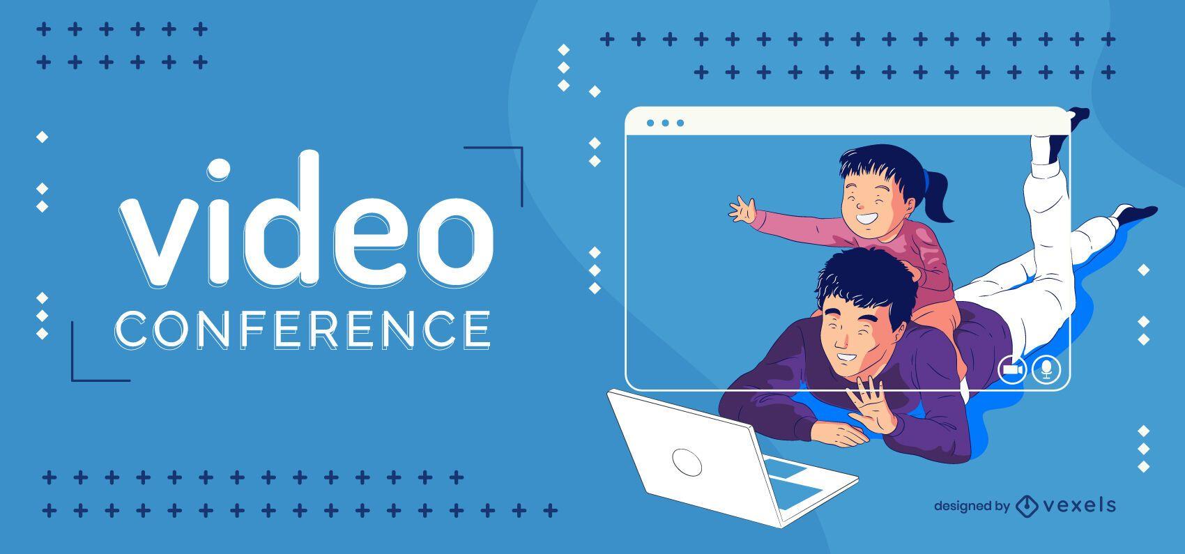 Ilustração de família de videoconferência