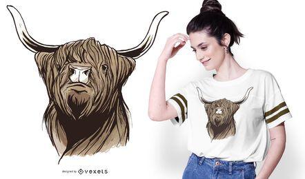 Design de camisetas para gado escocês das montanhas
