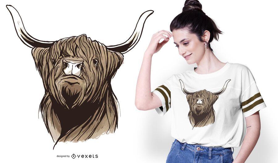 Design escocês do t-shirt do gado das montanhas
