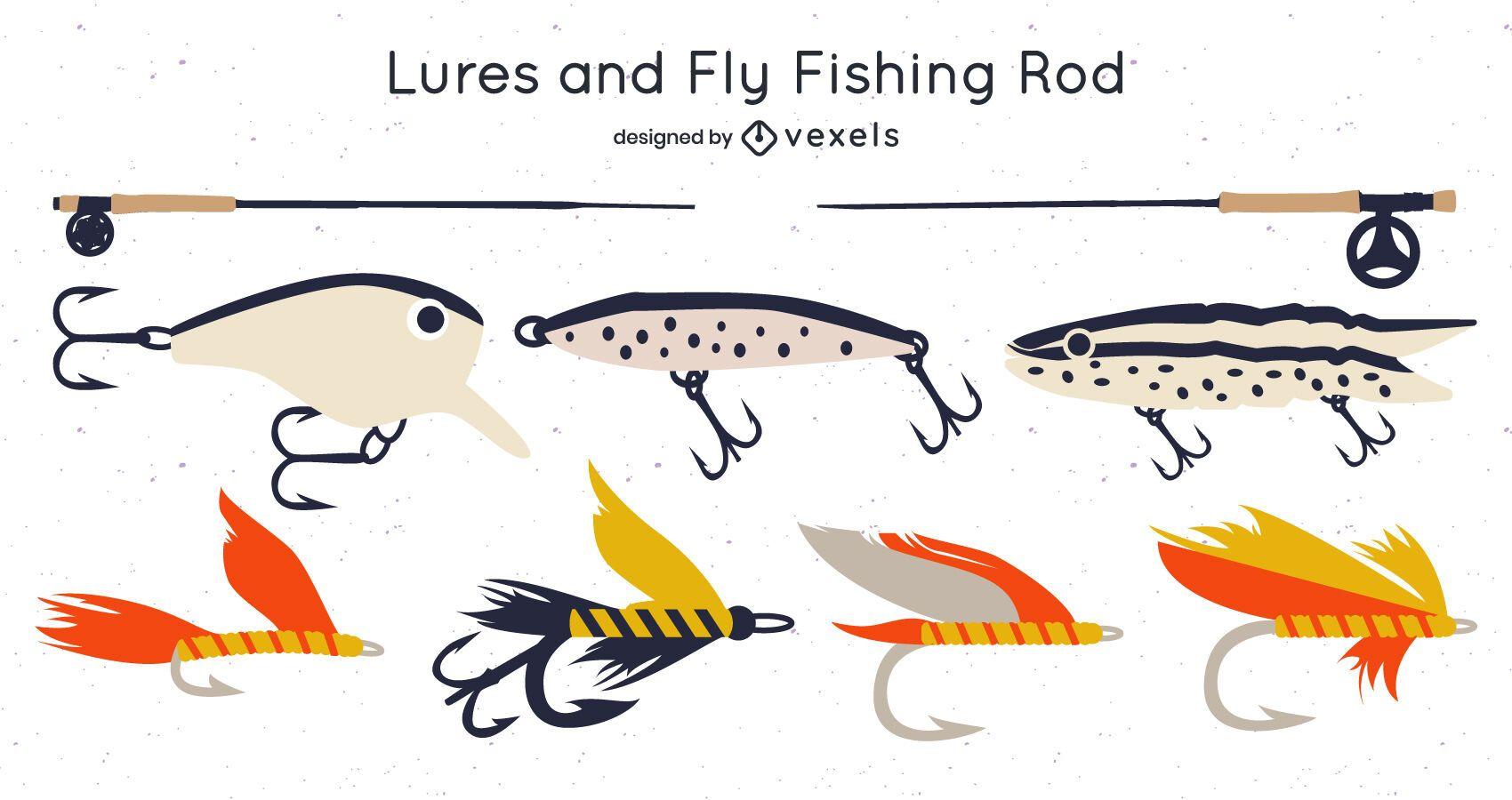 Paquete de diseño de cañas de pescar y señuelos con mosca