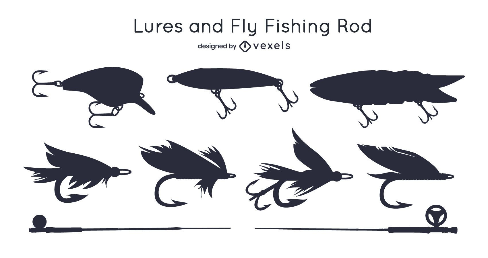 Fishing Rod and Lure Silhouette Pack