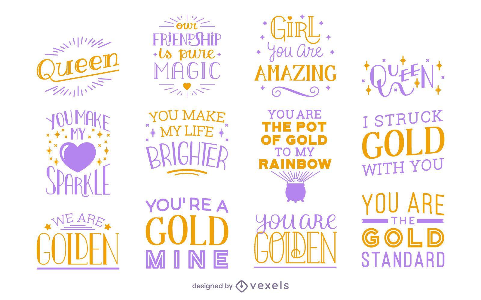 Female friendship lettering set