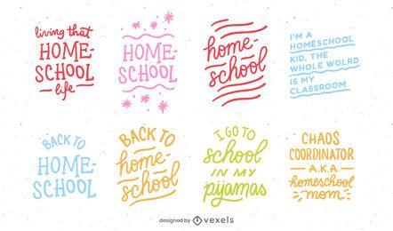 Diseño de conjunto de letras de Homeschool