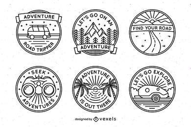 Pacote de design de emblemas de aventura