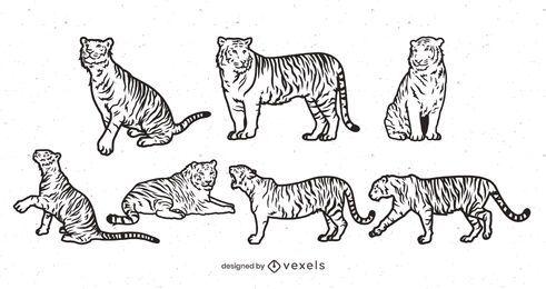 Desenho do cenário de tacada de tigre
