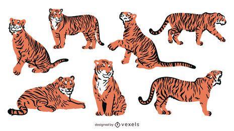 Diseño plano de tigre