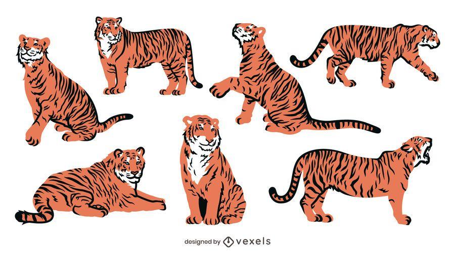 Cenografia plana de tigre