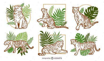 Pacote de design de ilustração da natureza Tiger