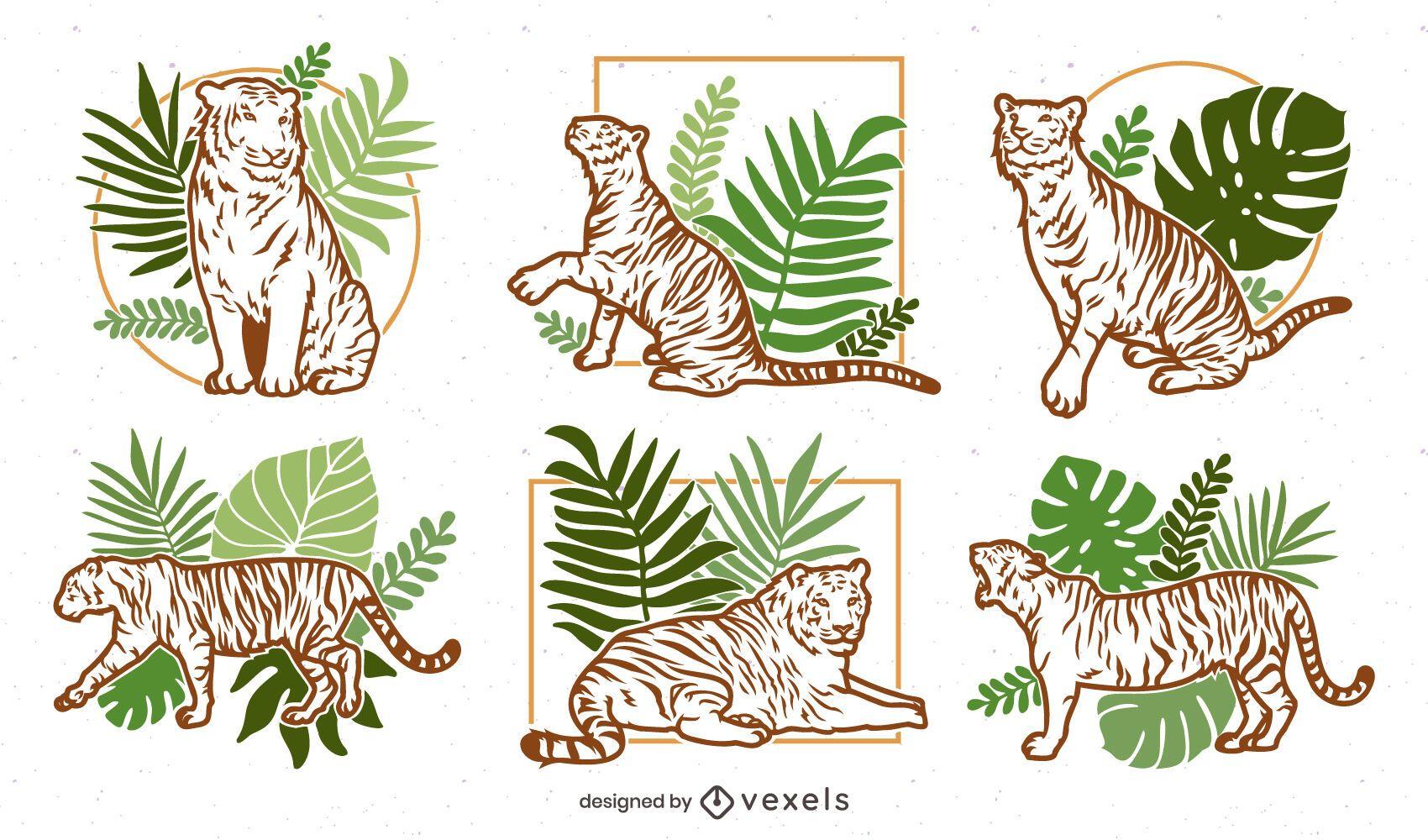 Paquete de diseño de ilustración de la naturaleza del tigre