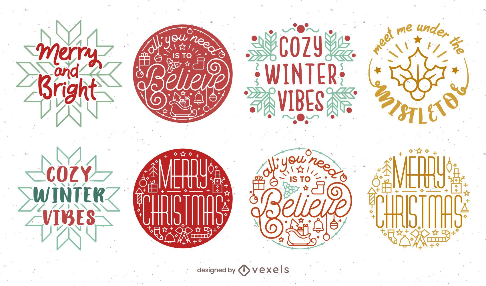 Christmas badge set design