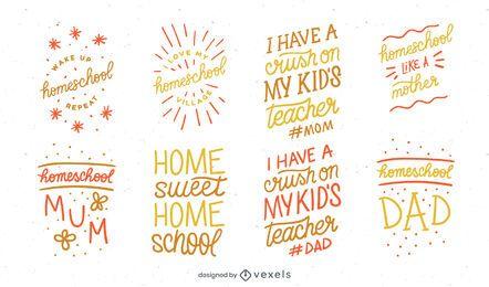 Pacote de Design de Letras para Escola em Casa