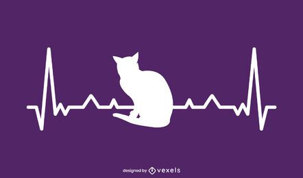 Desenho de ilustração de gato de frequência cardíaca