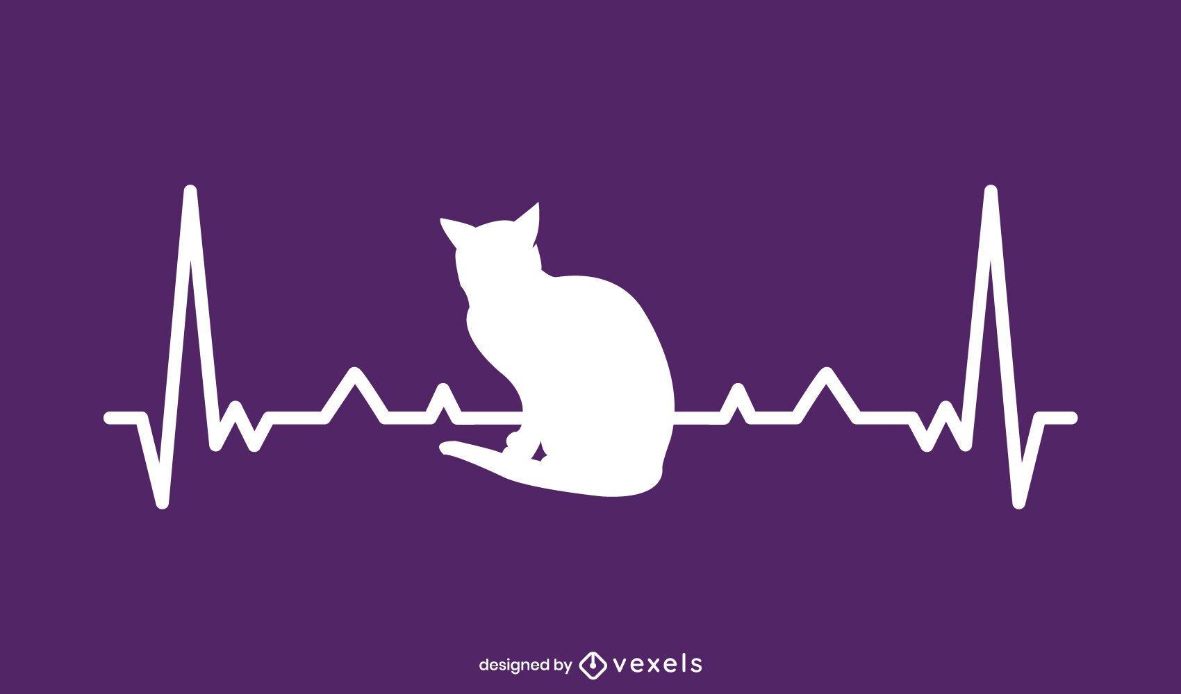 Diseño de ilustración de gato de frecuencia cardíaca