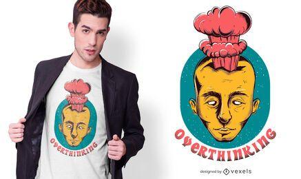 Diseño de camiseta de texto de pensamiento excesivo