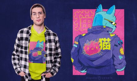 Design de t-shirt de gato Cyberpunk