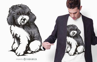 Projeto do t-shirt do filhote de cachorro da caniche do