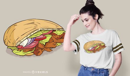 Diseño de camiseta de ilustración de Doner Kebab