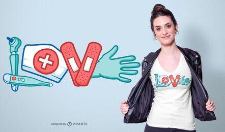 Projeto do t-shirt do amor da enfermeira